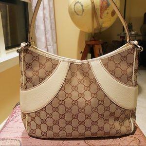 Gucci Monogram Shoulder Bag Purse White Tan